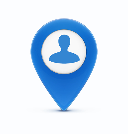 Vector illustration of glossy blue map location pointer icon with man silhouetteavatar