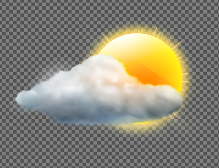 Vector Illustration der kühlen einzelnen Wetterikone mit den Sonnen- und Wolkenfliegen, die auf transparentem Hintergrund lokalisiert werden