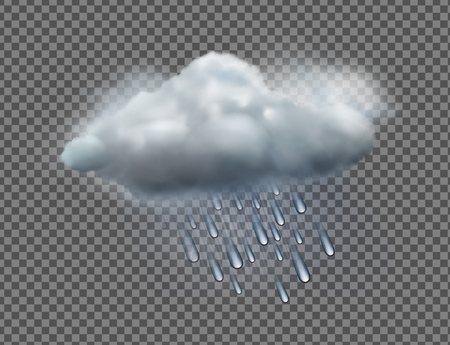 Ilustración vectorial de cool icono de tiempo único con raincloud y gotas de lluvia aislados sobre fondo transparente Vectores