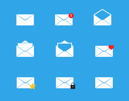 unread: Vector illustration Email mailbox icons set of 9 envelopes for messages Illustration