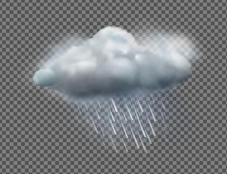 Ilustración vectorial de cool icono de tiempo único con nubes y lluvia pesada aisladas sobre fondo transparente
