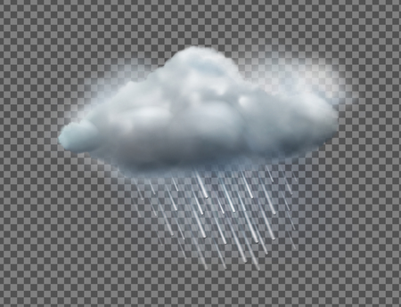 Vector illustration of cool single weather icon with cloud and heavy rain isolated on transparent background
