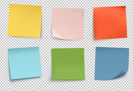 Vector illustration of multicolored paper isolated on transparent background