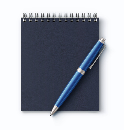 A vector illustration of top view of closed spiral faux leather cover notebook with a detailed blue classic ballpoint pen on white background.