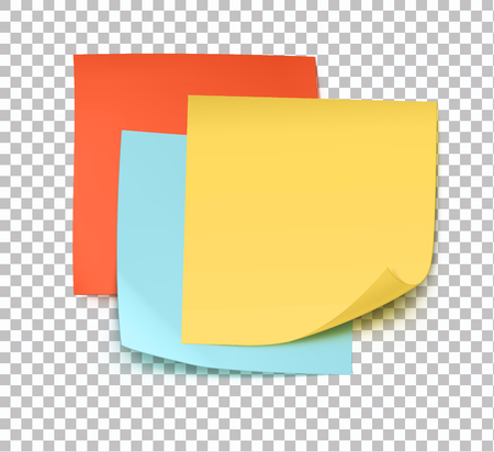 Vector illustration of multicolor post it notes isolated on transparent background