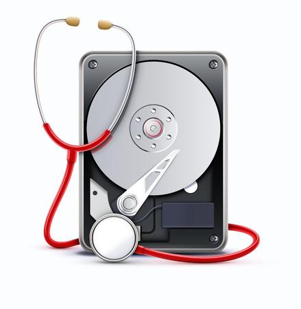 disco duro: Ilustración vectorial de las reparaciones de la computadora y el concepto de recuperación de datos digitales con un estetoscopio de exploración de la información perdida en un disco de disco duro aislado sobre fondo blanco