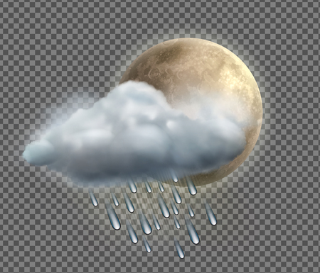 torrential: Vector illustration of cool single weather icon with night moon, raincloud and raindrops on transparent background