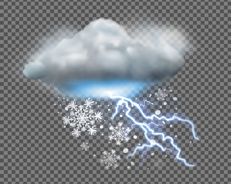 Vector illustration of cool single weather icon with cloud, snow and lightning on transparent background