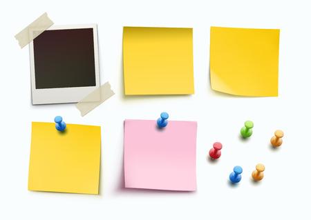 게시판에 대 한 디자인 요소의 벡터 일러스트 레이 션. 노란색과 분홍색 막대기 참고, 메시지 논문, 빈 사진 프레임 및 다른 색상으로 핀을 밀어.