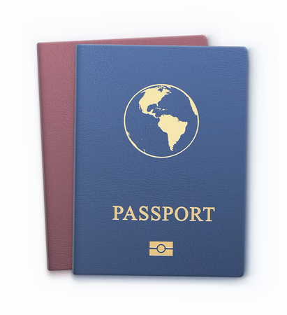 Vector illustration of two passports with map, international identification documents for travel.