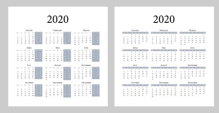 Calendar 2020 template. Simple style design. Week starts on Monday