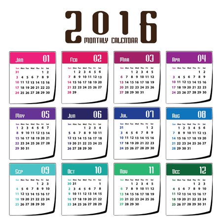 earth tone: Vector - Calendar 2016 earth tone design