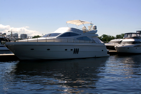 ship anchor: Luxury yachts in the port