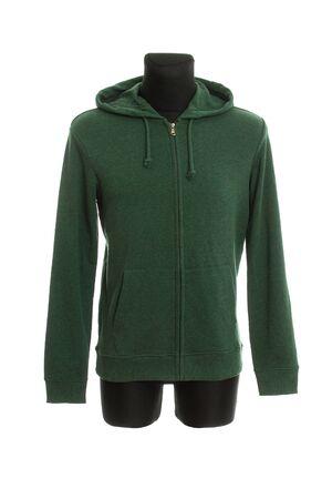 Dark green Sweatshirt jacket isolated on white Stock Photo