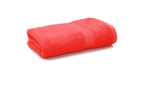 red towel folded isolated on white background