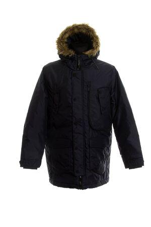 men warm jacket, parka jacket, winter jacket, hood with fur. isolated on white background