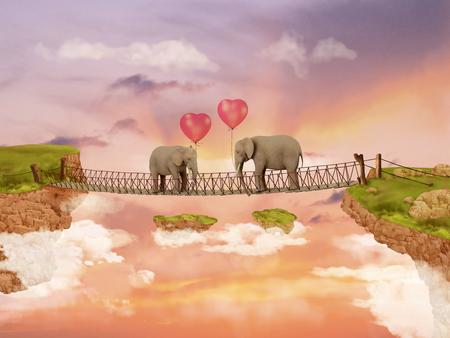 fabled: Two elephants on a bridge in the sky with balloons. Illustration