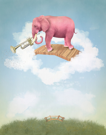 fabled: Pink elephant in the sky with a trumpet. Illustration Stock Photo