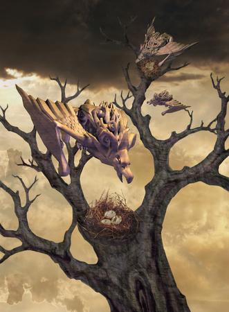 animal den: Gargoyles at the nest. Illustration