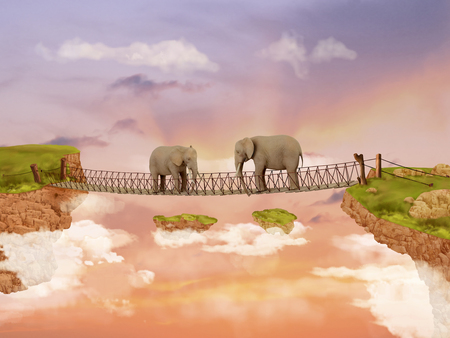 fabled: Two elephants on a bridge in the sky. Illustration Stock Photo