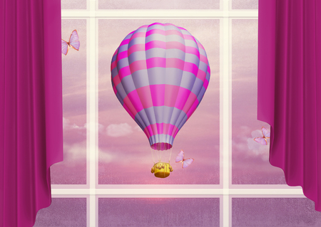 easiness: Air balloon in the sky outside the window. Illustration