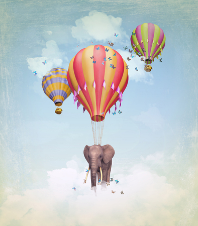 Flying Elephant in the sky with balloons. Illustration