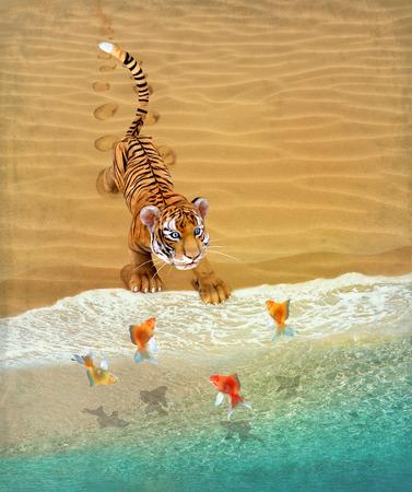 tigre cachorro: Cachorro de tigre lindo que juega en la playa con peces de colores. Ilustración.