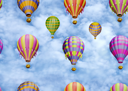 springtime: Bright colorful balloons in the sky. Seamless pattern Stock Photo