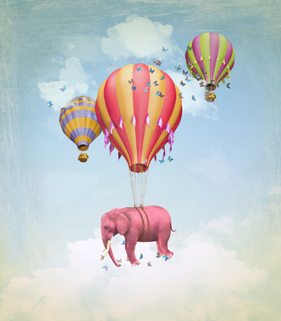 Pink elephant in the sky with balloons. Illustration