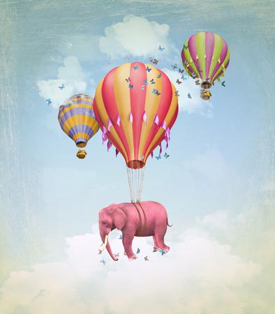 elefante: Elefante rosa en el cielo con globos. Ilustración Foto de archivo