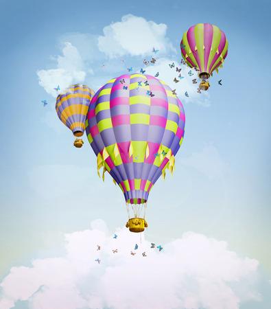 reise retro: Luftballons in den Himmel. Illustration