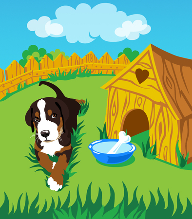 shack: The dog on the grass around the booth. Illustration. Stock Photo