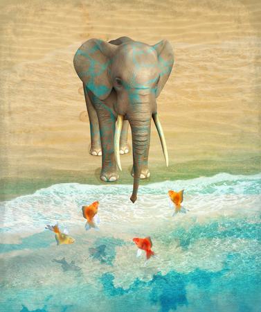 easiness: Elephant and goldfish on the shore. Illustration.