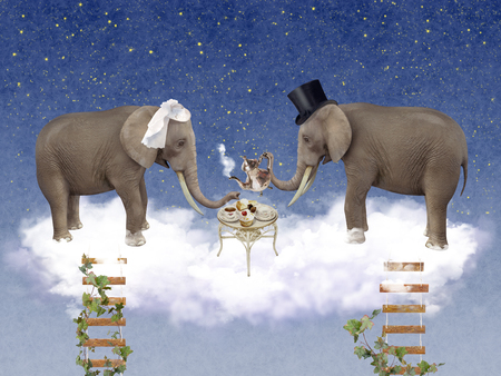 wedding ceremony: Two elephants in love at wedding ceremony. illustration