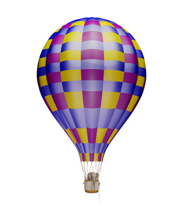 aerostat: Elephant in the balloon. Isolated on white Stock Photo