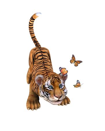 tigre cachorro: Cachorro de tigre lindo que juega con butterflie. Ilustración Foto de archivo