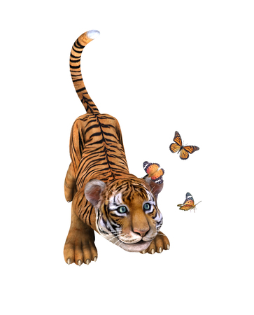 undomesticated cat: Cute tiger cub playing with butterflie. Illustration Stock Photo