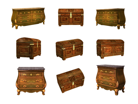 antique furniture: Antique furniture isolated on white. 3D image Stock Photo