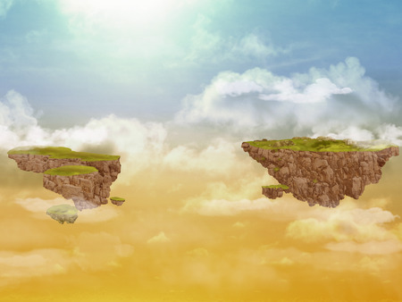 rocky: Two flying rocky islands in the sky Stock Photo