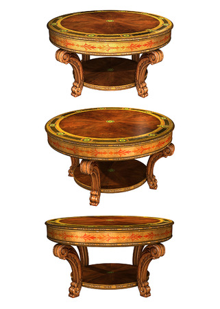 curio: Antique wooden round table. Isolated on white
