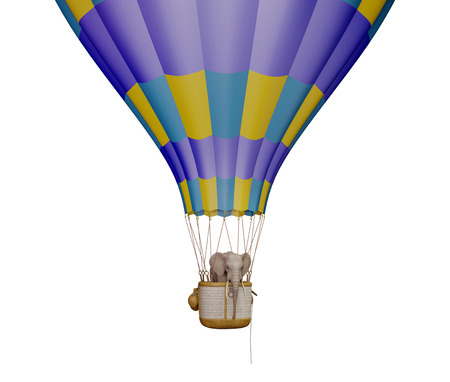 easiness: Elephant in the balloon. Isolated on white Stock Photo