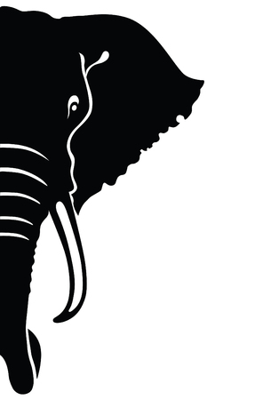 Elephant Head Font View Silhouette Illustration