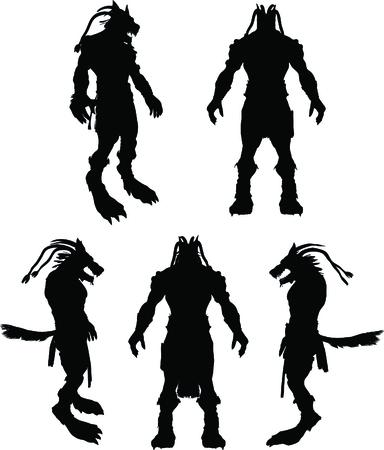 frightening: A frightening werewolf vector silhouette