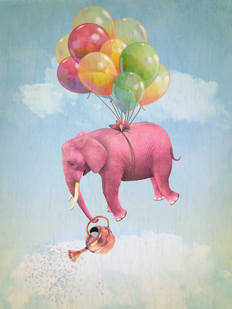 Pink elephant in the sky with a watering can. Illustration Фото со стока