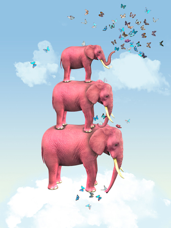 Pink elephants in the clouds with butterflies. Illustration