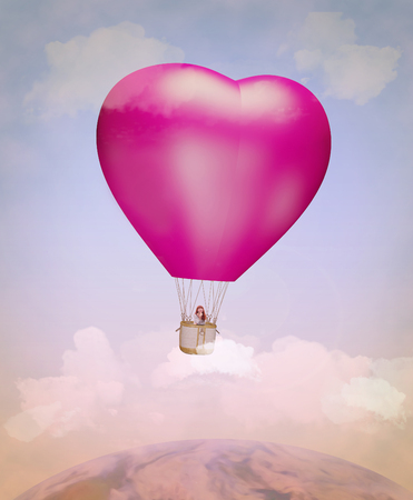 big woman: Girl flying in a heart shaped balloon in the sky. Illustration