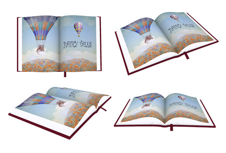 Open book of fairy tales on white background Stock Photo