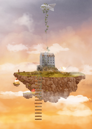 Island in the Sky. Illusion. Illustration Stock Photo