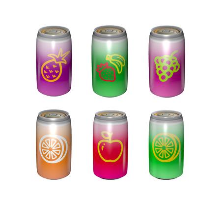 Tins of apple and lemom or orange fruit juice. Illustration Stock Photo