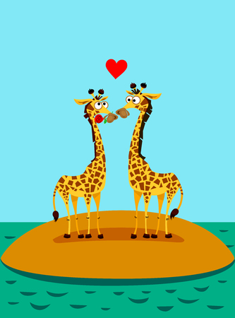 twain: Giraffes in love. Funny illustration